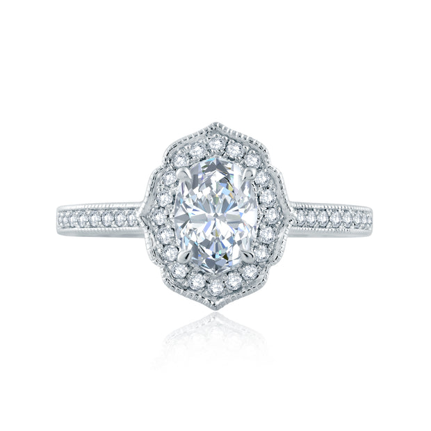 Floral Inspired Milgrain Detail Halo Oval Engagement Ring