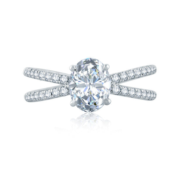 French Pave Delicate Criss Cross Shank Oval Solitaire Engagement Ring