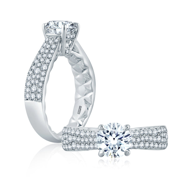 Scattered Diamond Wide Tapered Shank Engagement Ring