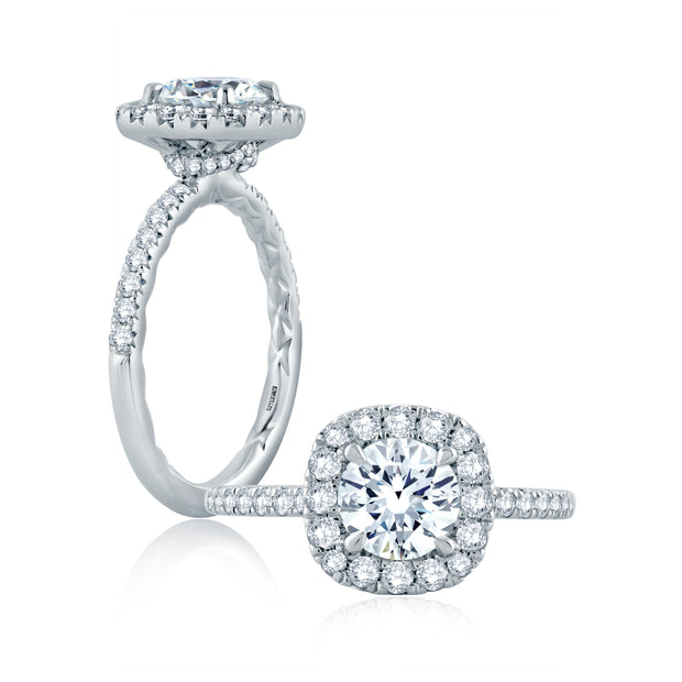 Round Center with Cushion Halo Engagement Ring with Belted Gallery Detail