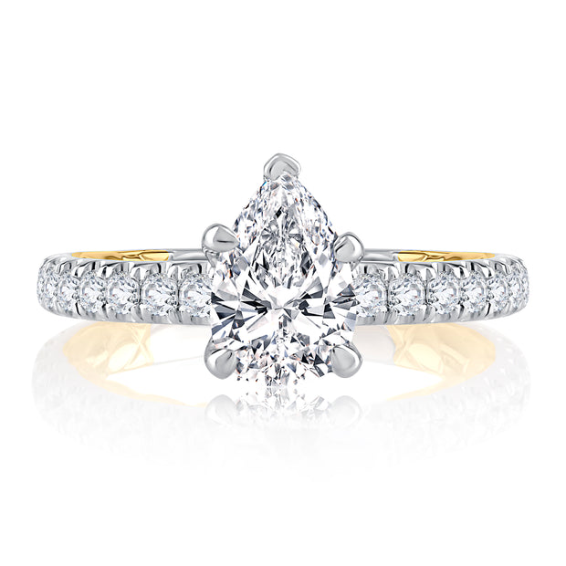 Sophisticated Two Tone Pear Cut Diamond Engagement Ring