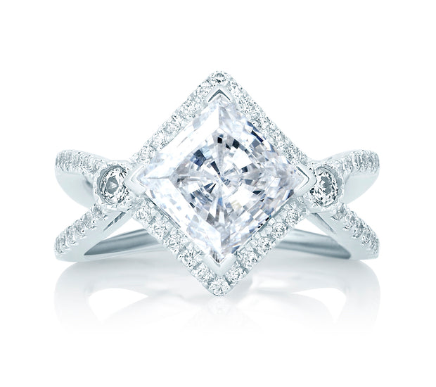 Deco Double Shank Bubble Prong Engagement Ring