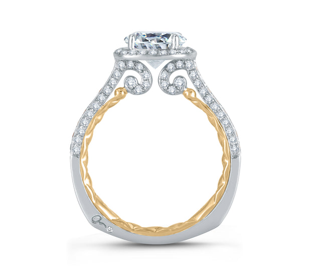 Two Tone Sophisticated Halo Diamond Quilted Engagement Ring