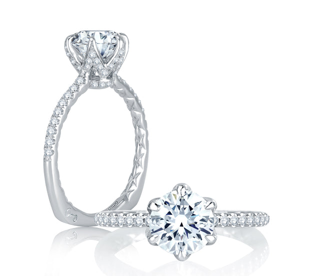 Floral Inspired Six Prong Halo Round Diamond Quilted Engagement Ring