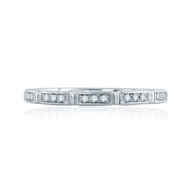 Segmented Milgrain Accent Wedding Band MR2189Q