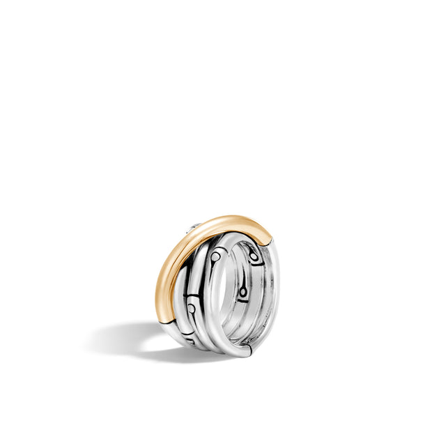 Bamboo 14MM Band Ring in Silver and 18K Gold