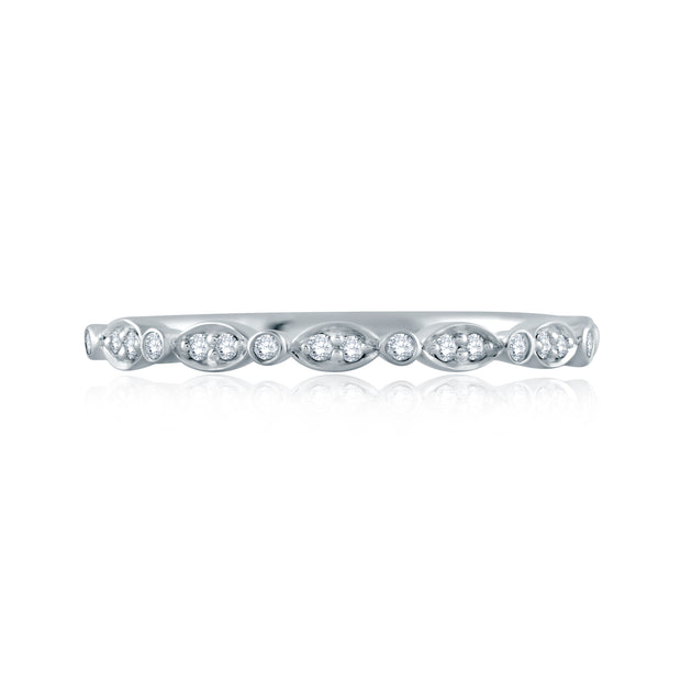 Marquise and Round Shape Diamond Stackable Half Circle Band