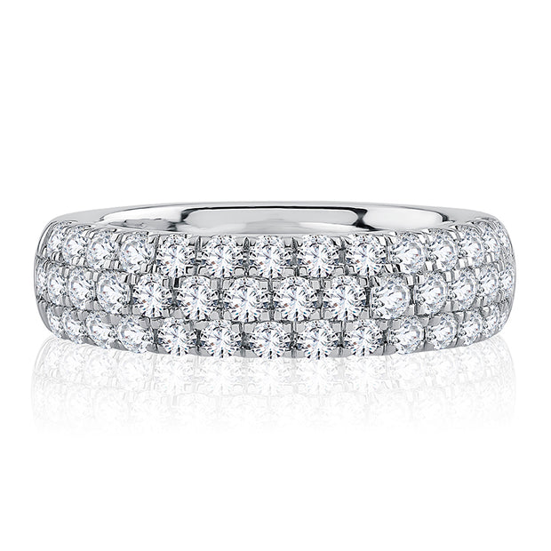 Modern Three Row Pavé Diamond Eternity Band