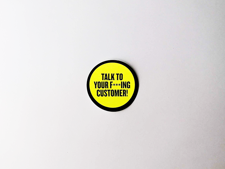 "Sticker set ""Talk to your f***ing customer!"""