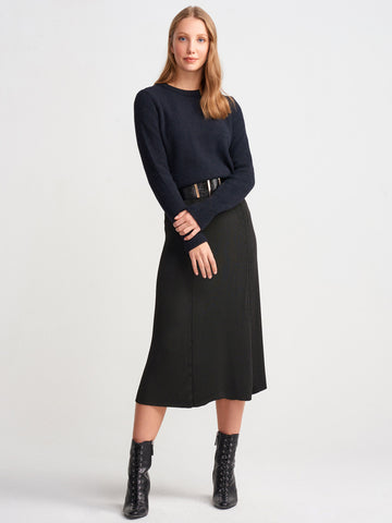 Knit Midi Flared Skirt - Black