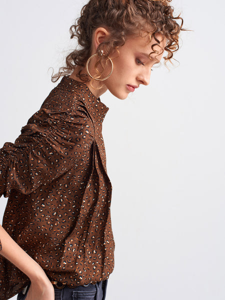 Gathered Sleeve Brown Blouse