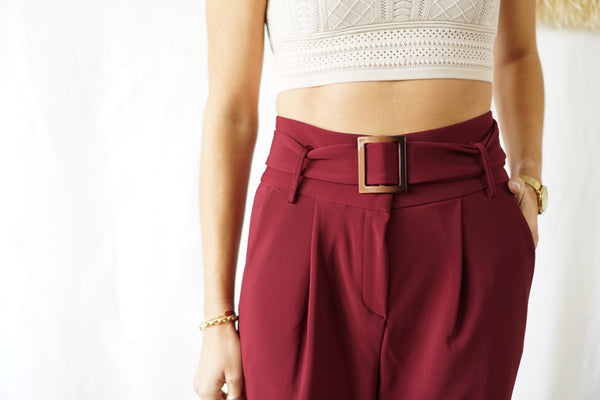 Burgundy Trouser with Belt