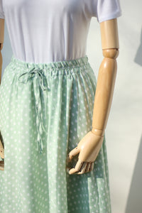 Polka Dot Maxi Skirt - Mint