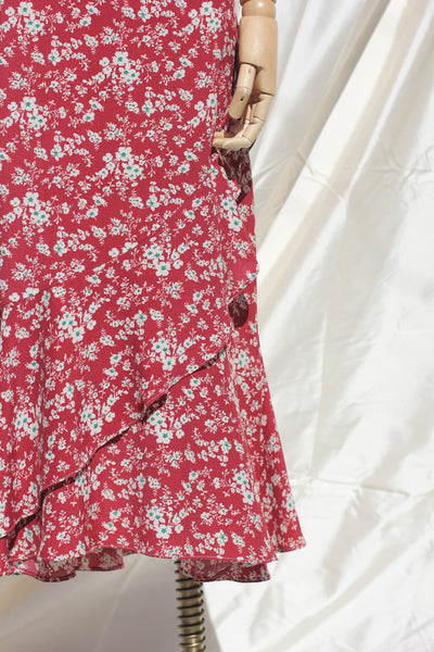 Floral Print Skirt - Red