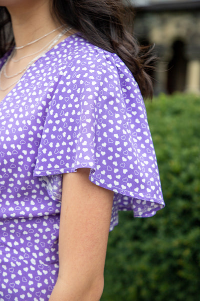 Heart Patterned Purple Midi Dress