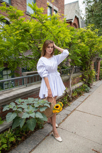 Full Flared Mini Cotton Dress with Belt - White
