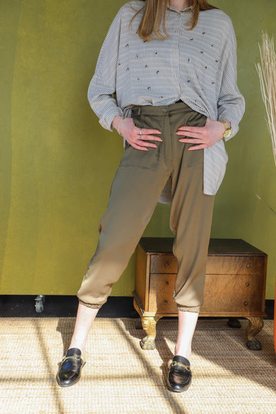 Satin Trouser - Khaki Green