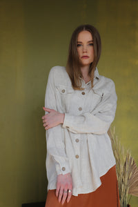 Long Sleeve Linen Blouse with Pockets