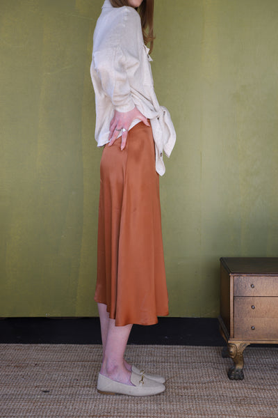 Satin Midi Skirt - Bronze