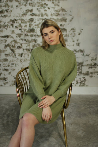 Oversized Sweater Dress - Moss Green