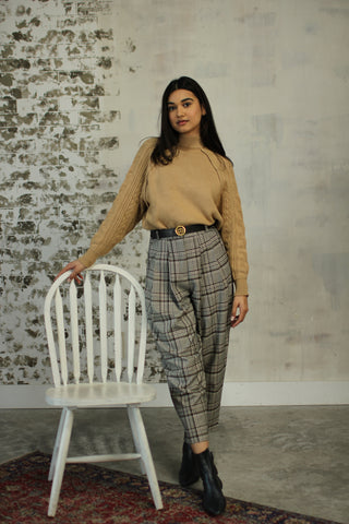 Plaid Houndstooth Trouser - Brown