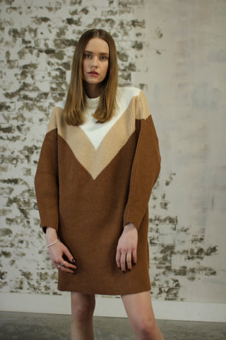 Oversized Sweater Dress - Brown