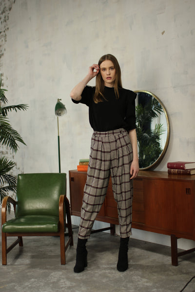 Plaid Houndstooth Trouser - Burgundy