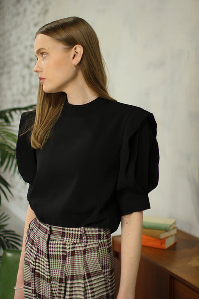 Black Blouse with Pleated Sleeve