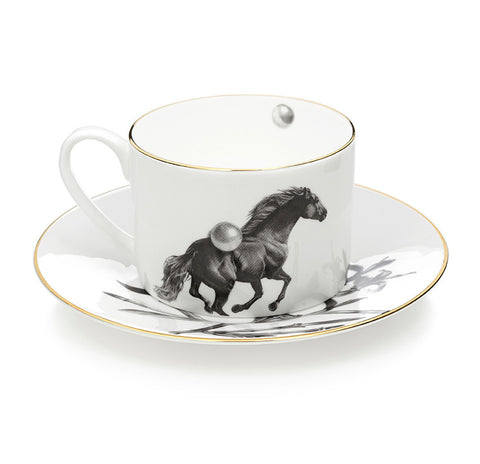Horse and Pearls illustrative Coffee and Tea Cup & Saucer