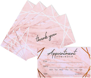 Appointment Reminder Cards, Marble and Rose Gold Foil Design (3.5 x 2 In, 100 Pack)