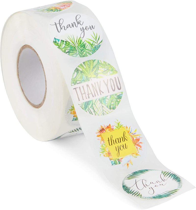 Thank You Stickers Roll with Tropical Leaves (1.5 Inches, 1000 Pack)