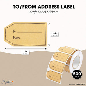 Christmas Gift Tag Stickers Roll, Brown Kraft Labels (2 x 1.15 in, 500 Pack)