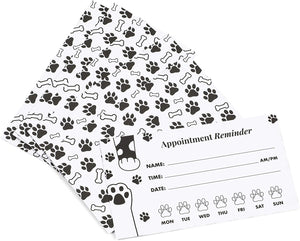 Paw Print Appointment Reminder Cards, Vet Office Supplies (3.5 x 2 In, 200 Pack)