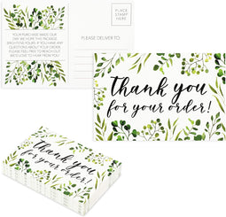 Thank You For Your Order Postcards, Green Floral (4 x 6 In, 48 Pack)