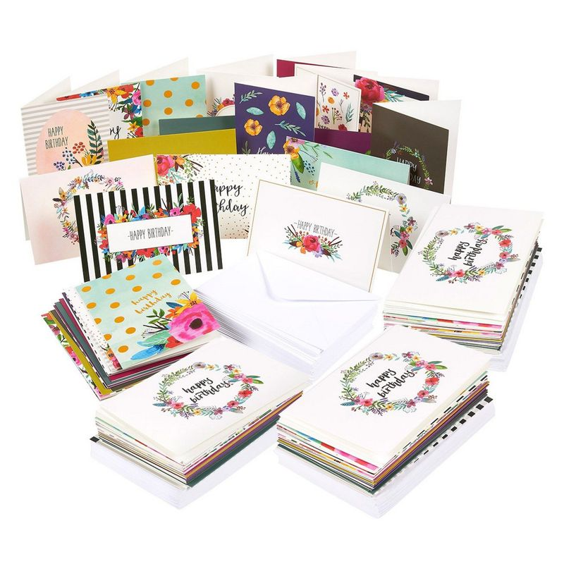 "144-Pack Blank Happy Birthday Cards Set w/Envelops, 18 Unique Designs, 4"" x 6"""