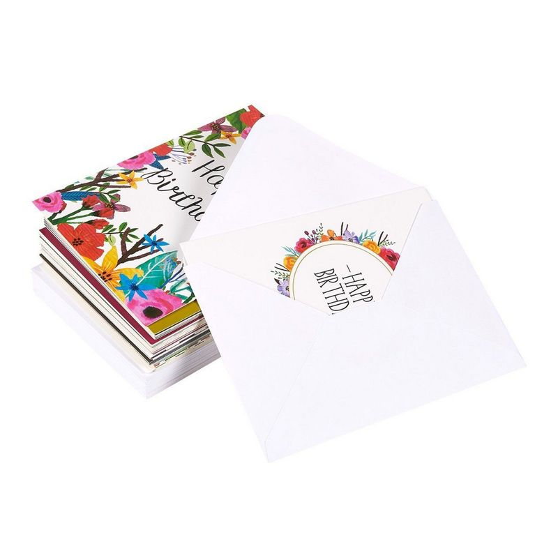 144-Pack Birthday Cards Assortment with Envelopes, 18 Unique Designs Value Pack, Blank Inside, for Workplace Employees Men Women Parent