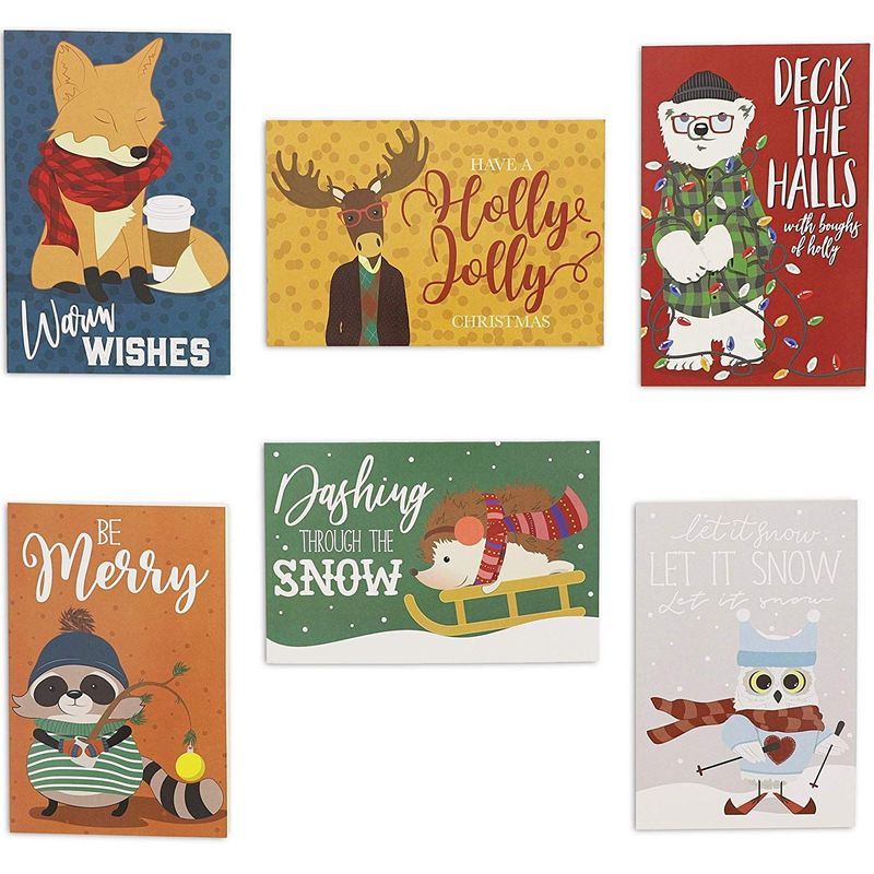 48x Cute Woodland Animal Christmas Cards with Envelopes, 6 Designs, 4 x 6 inch