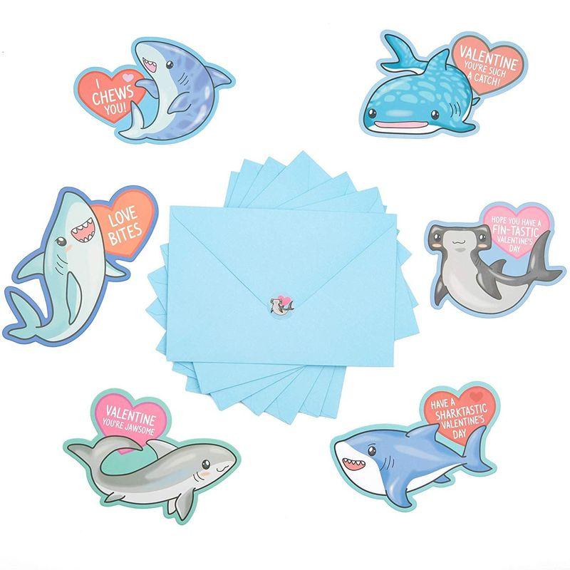 36x Shark Valentine's Day Cards with Stickers Envelopes for Kids Classroom