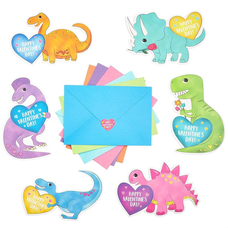 36x Valentine's Day Dinosaur Cards with Stickers and Envelopes for Kids