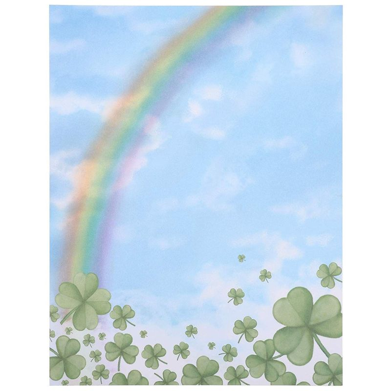 96x Rainbow and Four Leaf Clover Stationery Paper for St. Patrick's Day 8.5x 11""