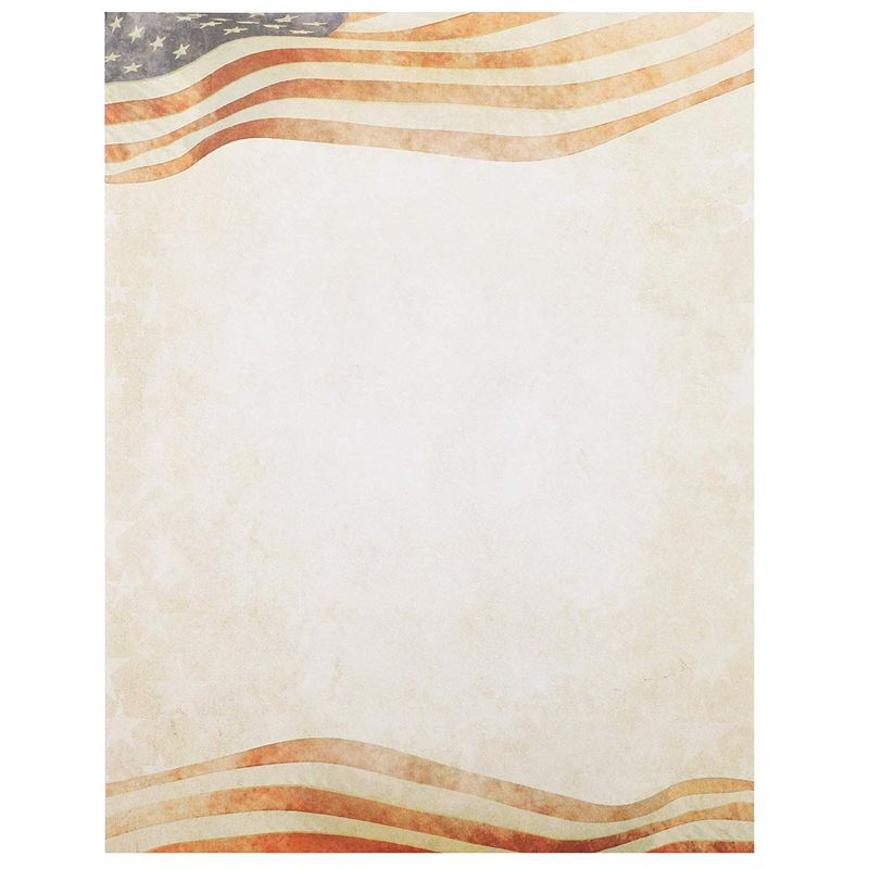 96x Patriotic Letterhead American Flag Stationery Paper Letter Writing 8.5 x 11""