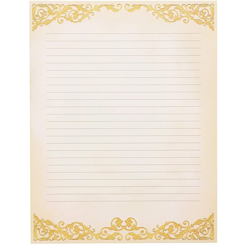 "48-Pack Vintage Stationery Paper Classic Gold Border Old Fashion 8.5"" x 11"""
