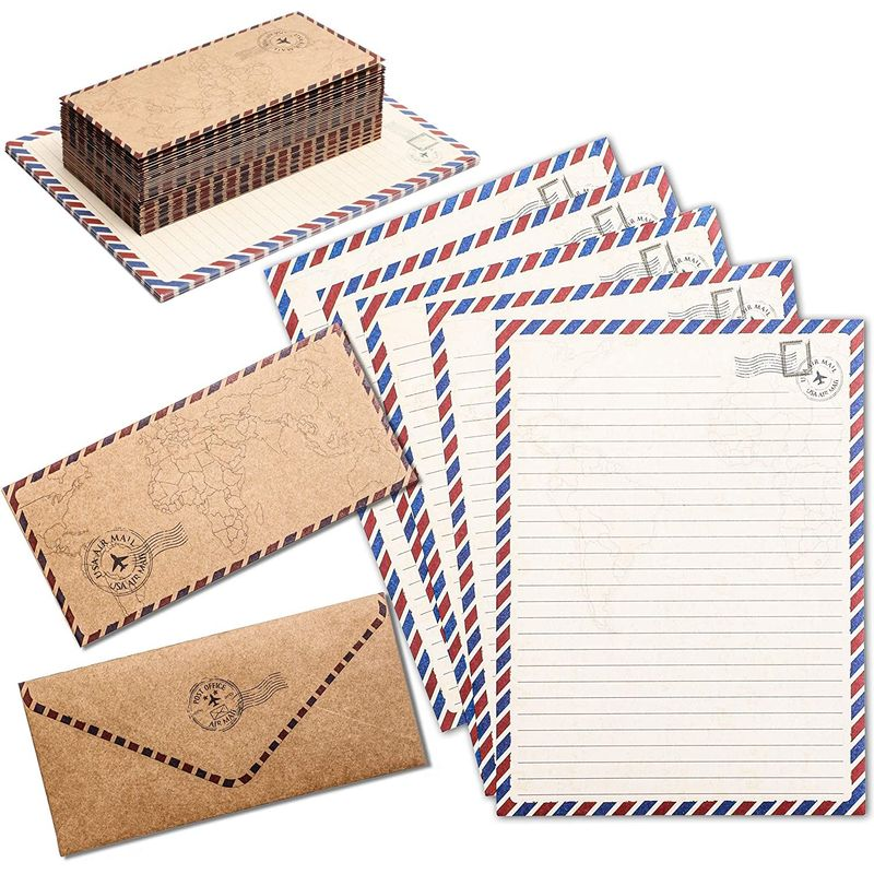 48-Pack Vintage Stationery Paper & Envelopes Letter Set, Classic Airmail Style
