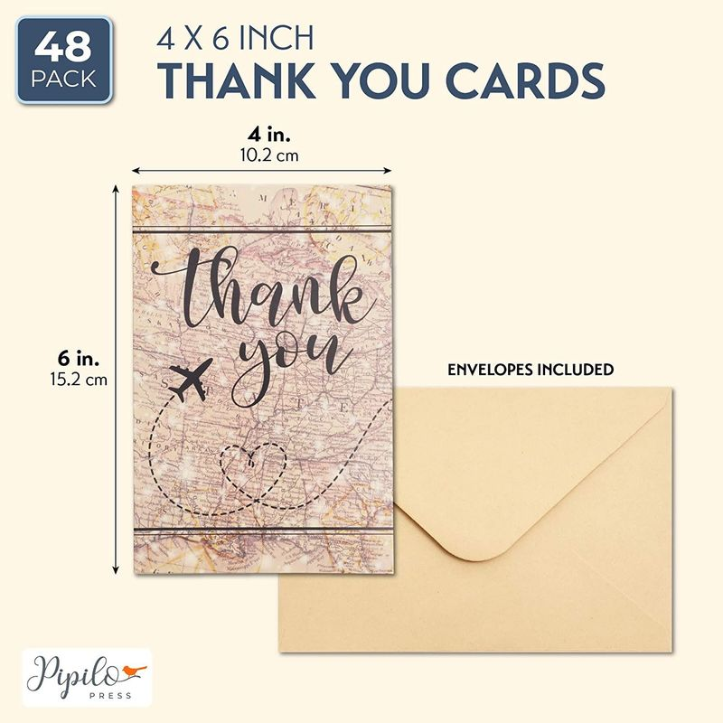 48-Pack Travel Themed Thank You Card w/ Kraft Envelope, Airplane on Map Design