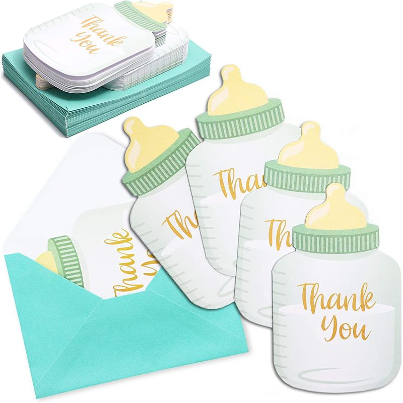 36-Pack Baby Bottle Shaped Thank You Card w/ Envelope for Baby Shower & Birthday