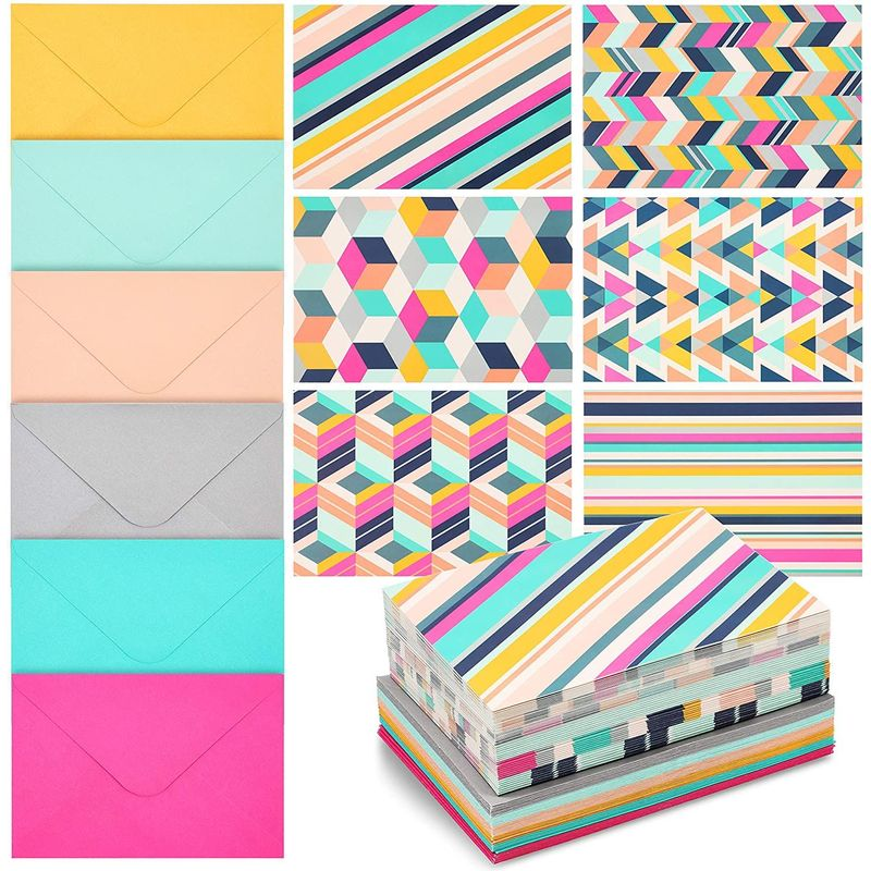 48-Pack Blank Note Cards w/ Envelopes, 6 Colorful Geometric & Stripes Designs
