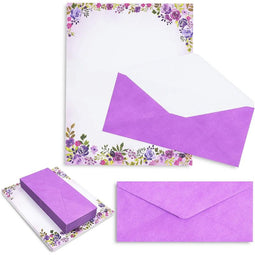 Purple Watercolor Floral Stationery Paper and Envelopes Set (8.5 x 11 In, 48 Pack)