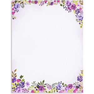 48-Sheet Stationery Paper Letter Sized and 48-Count #10 Envelopes, Floral Purple