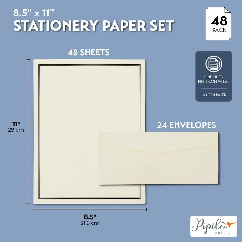 Premium Stationery Paper Set with 24 Envelopes (Ecru and Black, 48 Sheets)