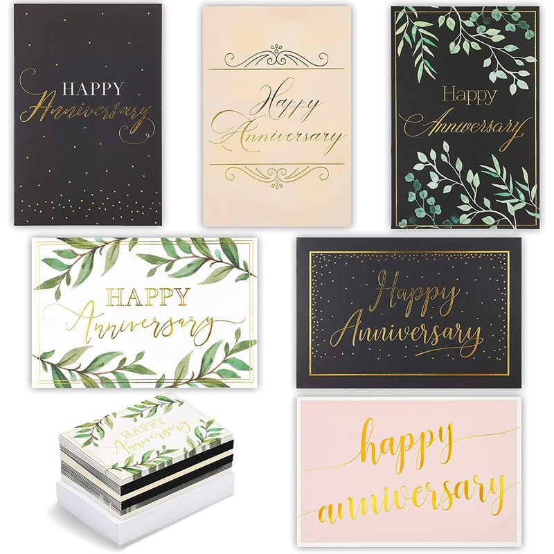 48-Pack Happy Anniversary Cards in 6 Elegant Designs, Gold Foil, 4 x 6 inches